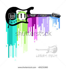 poster guitar isolated on abstract background stock vector