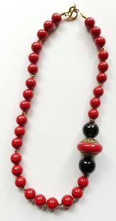 red fashion necklace images Red necklace mother of pearl necklace boho necklace black jpg