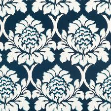 Roman Upholstery Navy Blue Floral Upholstery Fabric By The Yard Large Scale