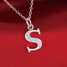 s necklace letter s bling zircon wholesale silver plated necklace new sale