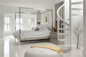 Contemporary Canopy Bed Contemporary Master Bedroom With White Bedding U0026 Spiral Staircase