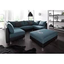 canapé avec pouf canapé d angle panoramique convertible pouf en microfibre noir