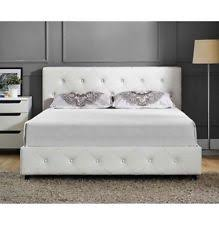 Tufted Bed Frame Dhp Dakota Faux Leather Upholstered Bed White Ebay
