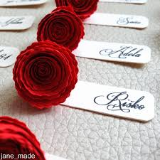 rose wedding name table tags wedding table decor paper rose