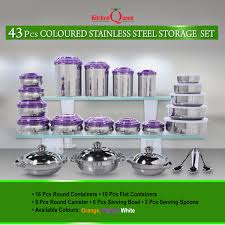 buy kitchen queen 43 pcs coloured stainless steel storage set