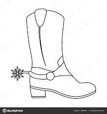 cowboys boots icon in outline style isolated on white background