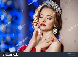 woman lux dress crown queen princess stock photo 356052002