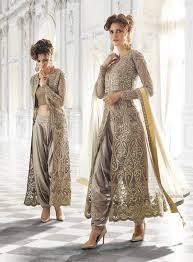 grey designer wear indian dhoti style anarkali suit in net trés