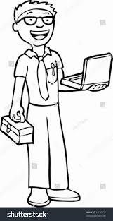 Laptop Repair Technician Computer Repair Technician Line Art Electronic Stock Vector