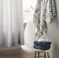 Baby Bathroom Shower Curtains by Love This Fabric Or Ticking For Jake And Koop U0027s Bathroom Shower