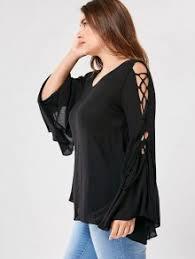 criss cross blouse plus size flare sleeve criss cross blouse black plus size blouses