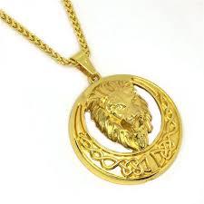 necklace gold man images Souq 18k gold plated necklace punk hip hop man lion head pendant jpg