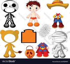 halloween paper doll boy with costumes royalty free vector