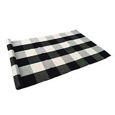 amazon com ustide 100 cotton rugs black white checkered plaid