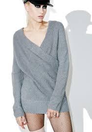 wrap sweater top grey knit wrapover sweater dolls kill