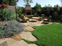 Corner Backyard Landscaping Ideas Outdoor Corner Fireplace Landscape Modern With None