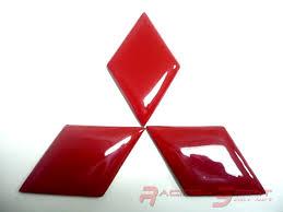 mitsubishi logo red fiber frp insert for mitsubishi emblem jdm lancer