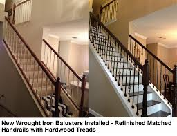 Refinish Banister New Iron Balusters And Wood Treads Vip Services Painting
