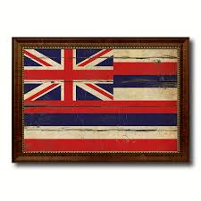 hawaii state vintage flag canvas with black print picture frame