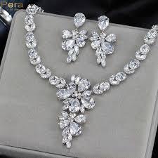 drop earrings wedding pera luxury silver color fairy sparkling cz bridal wedding