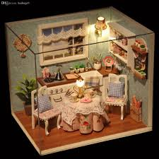 wholesale diy wooden doll house toys dollhouse miniature box kit