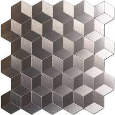 peel n stick metal decorative tile 10 sheets bronze cube mosaic