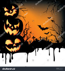 dripping halloween background jackolanterns bats crows stock