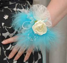 turquoise corsage large handmade ivory wrist corsage and turquoise feathers