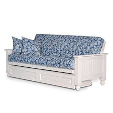 amazon com cottage white futon frame with storage drawers queen