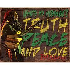 Bob Marley Home Decor Bob Marley Truth Peace Love Message Music Tin Sign Vintage Style