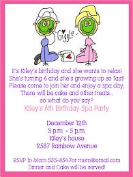 day at the spa birthday invites
