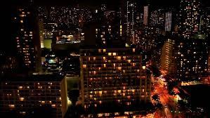 Honolulu City Lights City Of Honolulu And Waikiki Beach Oahu Hawaii At Night Dark