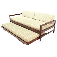 Modern Daybed Sofa Solid Walnut Frame Mid Century Modern Trundle Pull Out Daybed