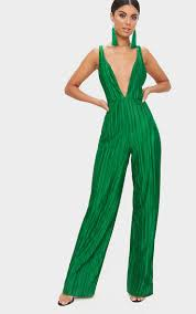 green jumpsuit green strappy plunge jumpsuit prettylittlething ie