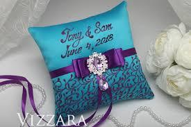 purple and turquoise wedding ring bearers pillows purple and turquoise wedding ring bearer