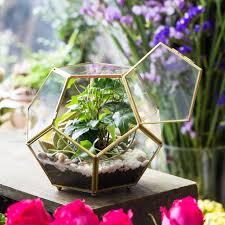 copper sphere glass geometric terrarium pentagon ball shape