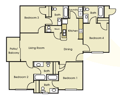 4 bed floor plans apartments for rent near unc charlotte floor plans 901 place