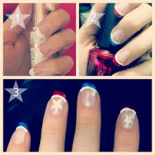 blushing basics patriotic nail tutorial step by step