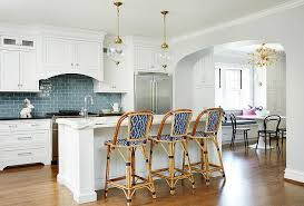 Blue And White Kitchen Cabinets White Kitchen Cabinets With Blue Subway Tiles Transitional Kitchen