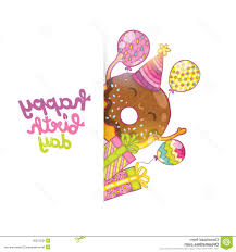 hd happy birthday card background cute donut vector holiday party