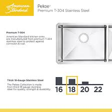 American Standard Pekoe Undermount Stainless Steel  In Double - American standard kitchen sink