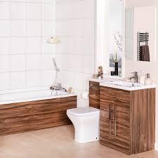 curved bathroom suite with rh walnut combi vanity unit