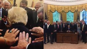 trump oval office pictures evangelical pastor shares image of prayer circle laying their
