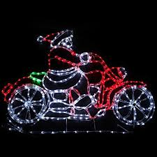 Large Animated Indoor Christmas Decorations by Christmas Rope Light Animated Santa Riding Motorbike 120cm Large