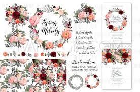 rose peony wedding invitation clipart floral set png unique