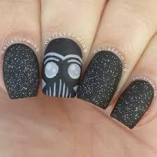 star wars nail art black nails anime creative darth vader nail