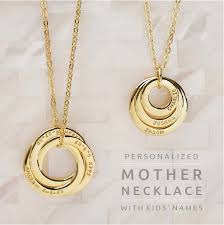 personalized mothers day necklace personalized necklace with kids names interlocking ring
