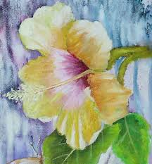 a flower painting yellow hibiscus and painted butterfly painting