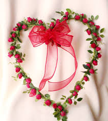 home decor red rose heart wreath handmade valentines front