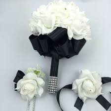 corsage and boutonniere set 3 pcs black bridal bridesmais flowers holder wedding bouquet